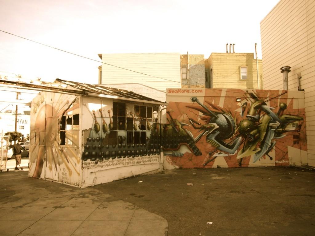 Vollständiger SEAK Schriftzug (Piece, Style) Mural (Wandbild, Schriftbild) in San Francisco